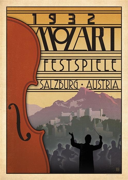 Afbeelding van 1932 Mozart Festspiele Salzburg Kunstdruk Poster 42x59.4cm Vintage Kunst