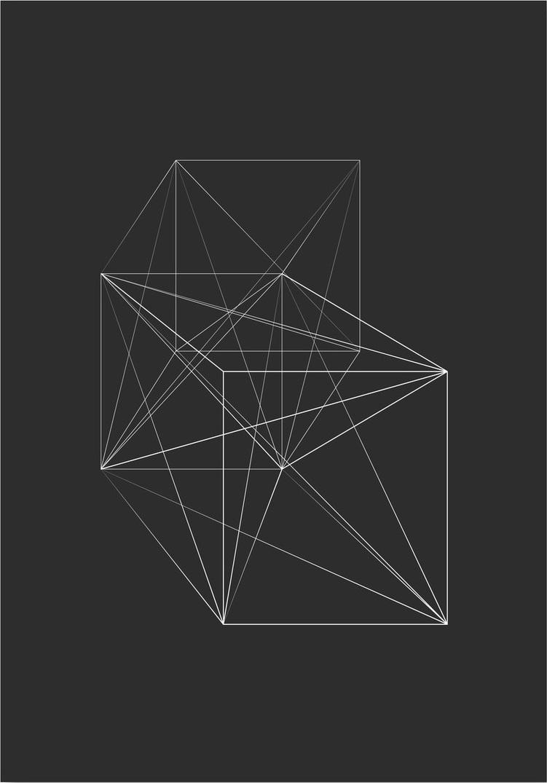 Afbeelding van 3D Vierkant Schets Kunstdruk Poster 42x59.4cm Kunst