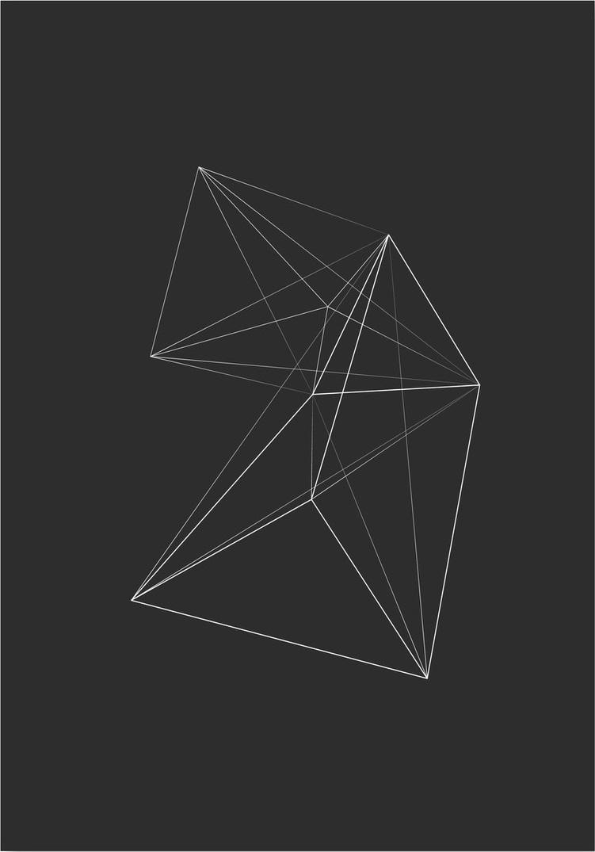 Afbeelding van 3D Driehoek Schets Kunstdruk Poster 42x59.4cm Kunst