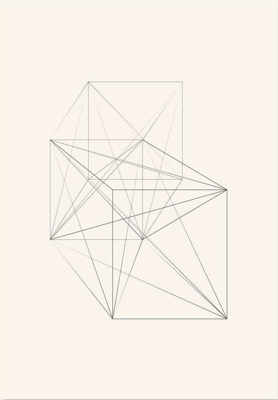 Afbeelding van 3D Vierkant Schets Krijt Kunstdruk Poster 42x59.4cm Kunst