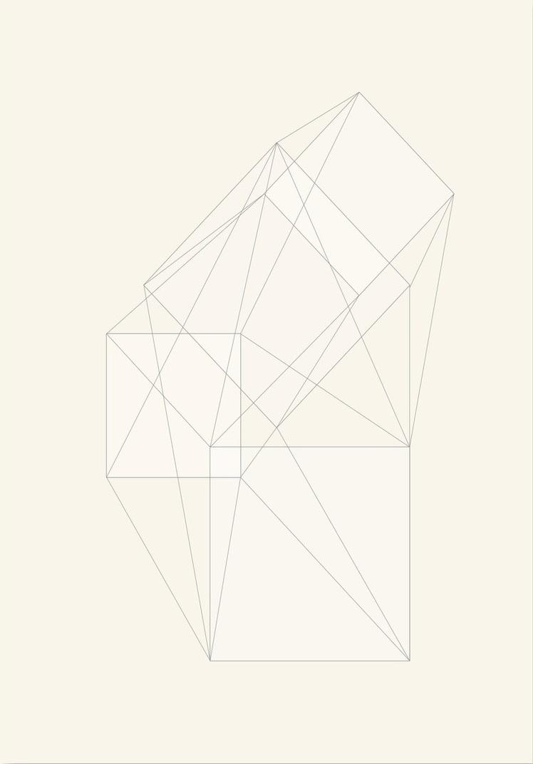Afbeelding van 3D Box Schets Krijt Kunstdruk Poster 42x59.4cm Kunst