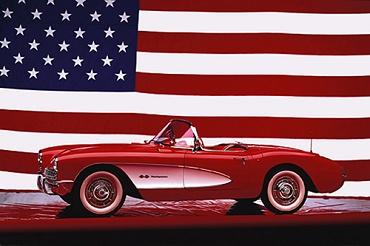 Afbeelding van Corvette 1957 U.S. Vlag Poster 91.5x61cm Auto Posters