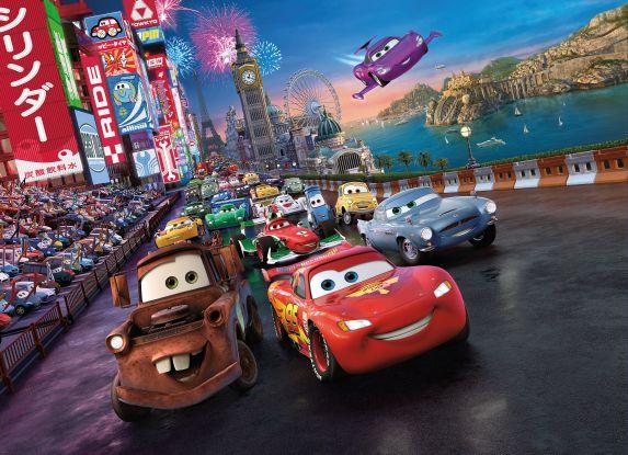 Afbeelding van Cars 4 delig Fotobehang 254x184cm Kinder
