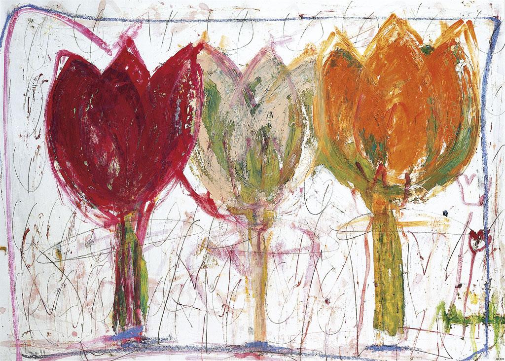 Afbeelding van 3 Tulips Bloemen Kunst