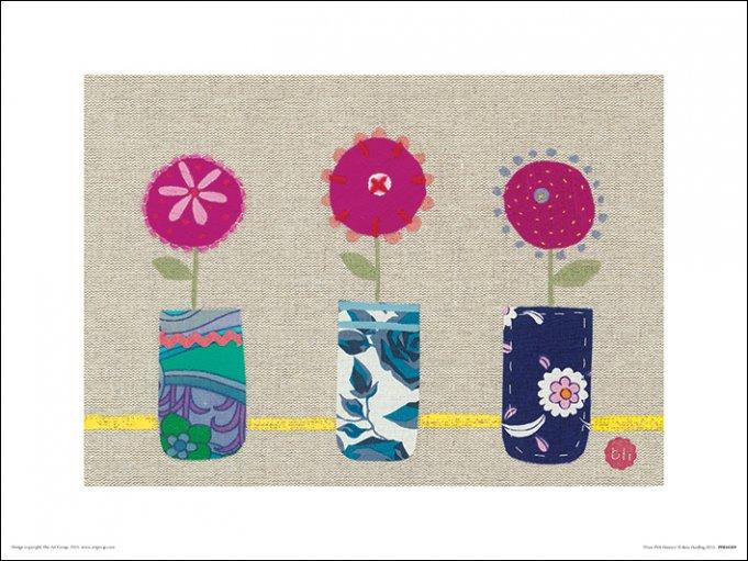 Afbeelding van 3 Roze Bloemen Kunst
