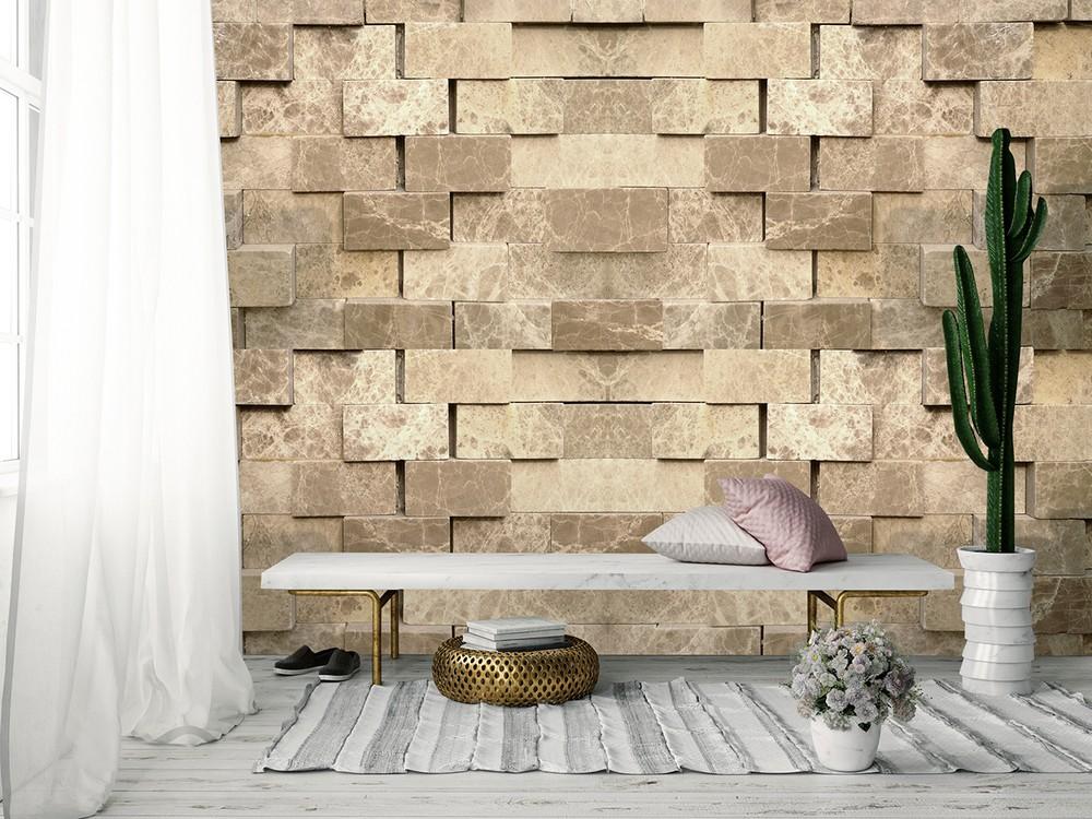 Afbeelding van 3D Stenen Muur Fotobehang 4 delig 368x254cm